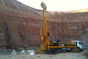Drillwest Rig 7 carrying out Diamond Drilling operations in an open cut mining operation.